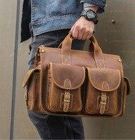 MAHEU Grade Quality Laptop Briefcase Crazy Horse Genuine Leather Laptop Bags Notebook PC Shoulder Bag For Business Man Vintage