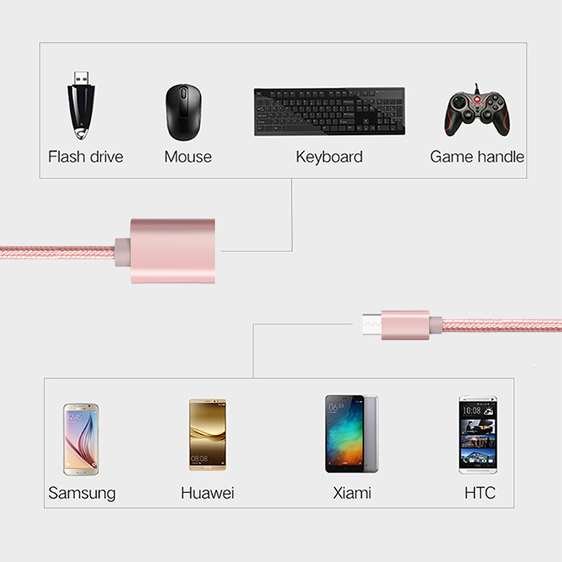 Fantastic Cabletime Micro Usb Otg Cable Pink Adapter Nylon Wire Android Tablet Wiring 101 Photwellnesstrialsorg