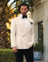Italian Style White And Black Groom Tuxedos Custom Made Mens Wedding Suits Groomsman Attire Jacket Pants