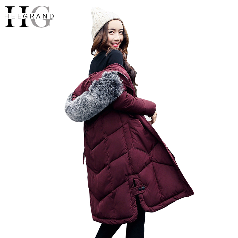 HEE GRAND Fur Collar Cotton Parkas Winter Coat Women X-Long Warm Jackets Snow Thickness Feathers Hooded Slim Outwear WWM1666 fur and feathers