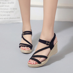 Women Female Wedge High Heels Open Toe Pumps Shoes Woman 5