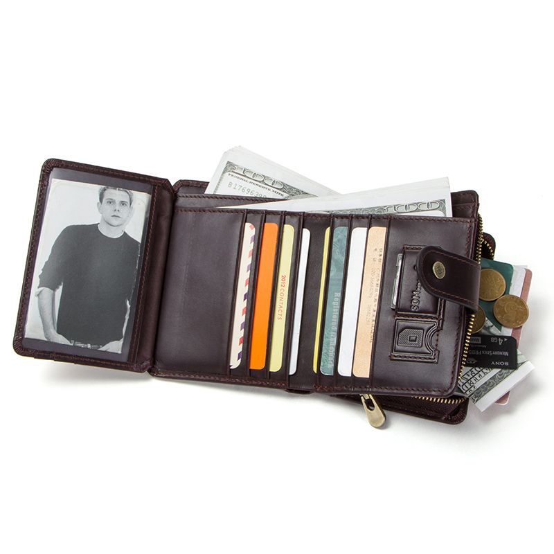 CONTACT'S genuine leather RFID men's wallet short coin purse small hasp walet partmon male short wallets men high quality cuzdan 1