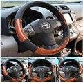 2016 Eco friendly 38 cm madeira cobertura de volante de carro personalizado respirável de microfibra de couro diamante capa preta lzh