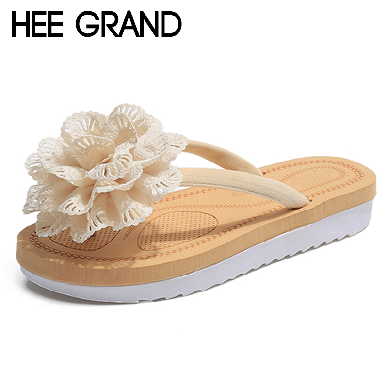 HEE GRAND 2018 Flower Slides Casual Beach Slippers Platform Shoes Woman Slip On Outside Flats Creepers Women Shoes XWT1041 hee grand 2017 creepers summer platform gladiator sandals casual shoes woman slip on flats fashion silver women shoes xwz4074