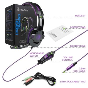 Image 5 - SADES SA 930 auriculares PS4 profesionales, auriculares para videojuegos de 3,5mm con Cable de 1 a 2 para ordenador y teléfonos móviles