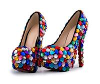 NEW Gorgeous wedding shoes women's Colorful gemstone high heels Fashion Sexy thin with Shoes Women Pumps wedding shoes Pumps