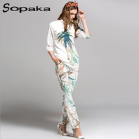 SOPAKA High Quality 2017 Autumn White Floral Bamboo Printed Shirt And Fashion Pants Runway Designer Two