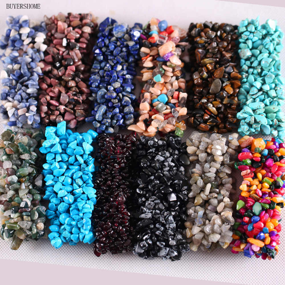 "Free Shipping Stretch Chip beads Weave Natural Carnelian Onyx Howlite Quartz Lapis Lazuli Crystal Bracelet 7"" 1Pcs"