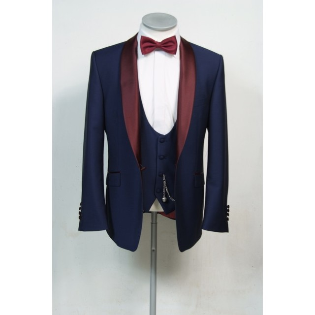 Latest Coat Pants Designs Navy Blue Groom Tuxedo Burgundy Shawl Lapel Blazer 3 Piece Mens Wedding Prom Dinner Party Suits Terno