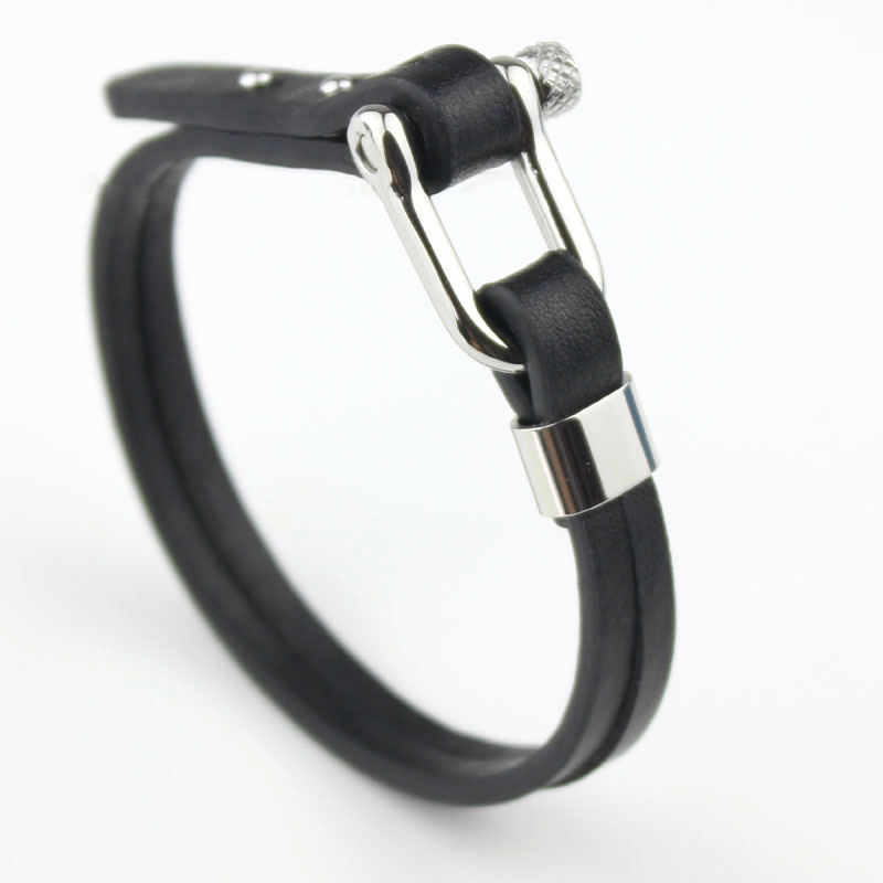 Newest length 19.5-20.0cm stainless steel screw lock buckle with genuine leather bracelets Bangles in black for men or women