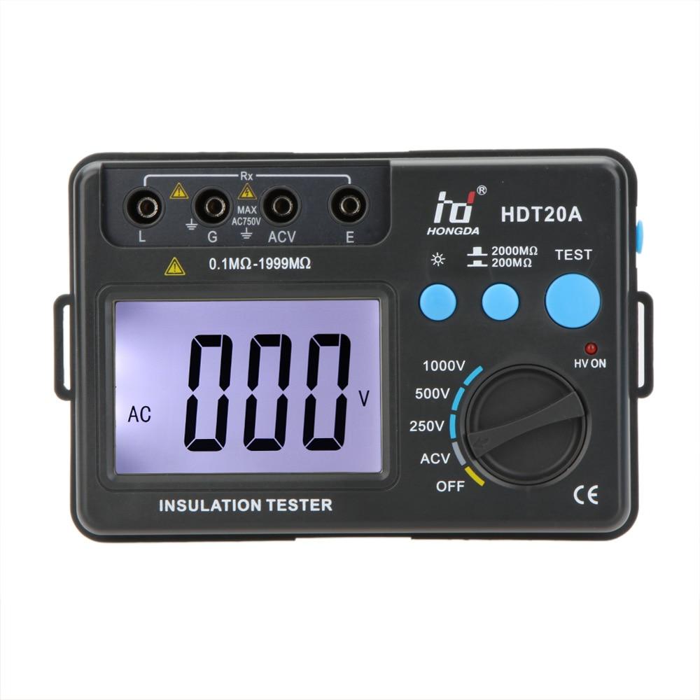 HD HDT20A Insulation Resistance Tester Meter Megohmmeter Voltmeter electronic diagnostic-tool esr meter 1000V w/ LCD Backlight  insulation resistance tester megohmmeter voltmeter dvm with lcd backlight