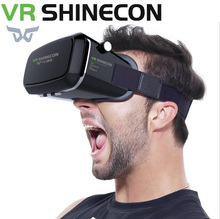 VR Shinecon Pro Virtual Reality 3D Glasses Headset Head Mount Mobile Google Cardboard Video For 4-6' Smartphone 13000001 vr shinecon google cardboard pro version 3d vr virtual reality 3d glasses smart vr headset
