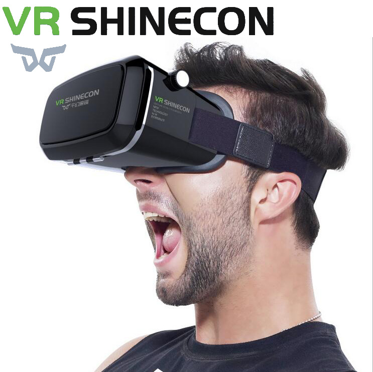 VR Shinecon Pro Virtual Reality 3D Glasses Headset Head Mount Mobile Google Cardboard Video For 4-6' Smartphone 13000001