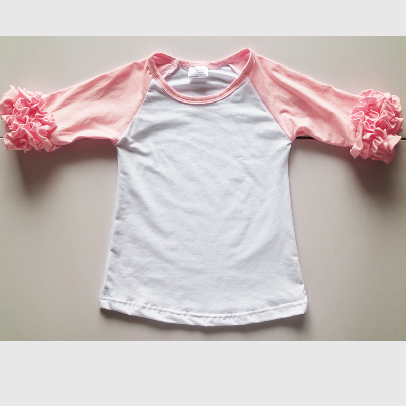 Fall spring icing t shirts bulk sale pink ruffle shirts for Kids t shirts in bulk