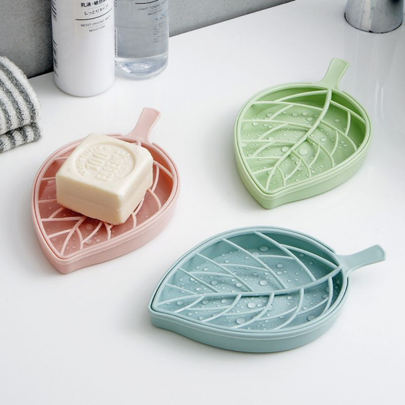 Portable Soap Dishes Plastic Double Layers Leaf-Shaped Holder Draining Box for Bath and Kitchen