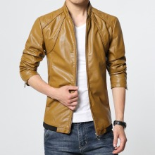jaqueta de couro masculina men leather jacket brand coat motorcycle leather jackets leather PU jacket coat stand collar size 6XL