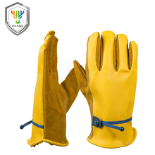OZERO New Cowhide Men's Work Driver Gloves Magic rope Leather Security Wear Safety Workers Moto Warm Gloves For Men 8008