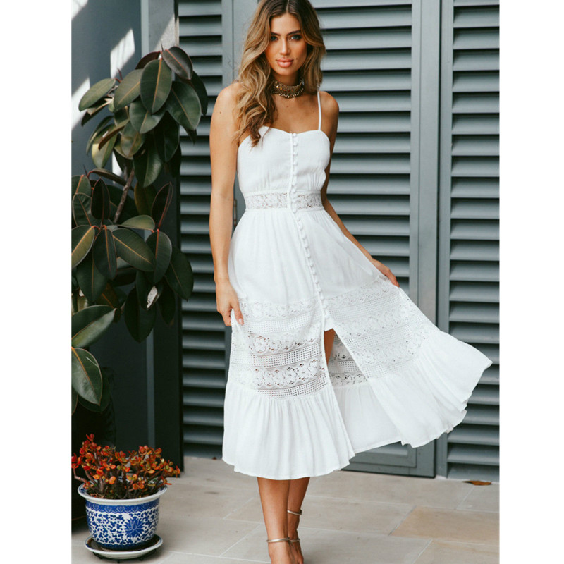 Women 2018 Off Shoulder Long Dresses Sexy Bow Backless Beach Summer Dress White Sleeveless Lace Dress