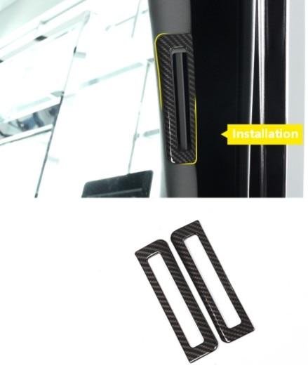 2pcs Carbon Fiber ABS font b Interior b font A Pillar Air Conditioning Outlet Vent Cover