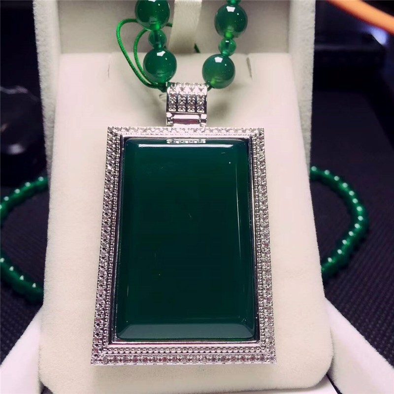 Koraba Fine Jewelry  925 Silver Inlaid Natural Green Chalcedony Cards Pendant Necklace Sweater Chain Gifts Free ShippingKoraba Fine Jewelry  925 Silver Inlaid Natural Green Chalcedony Cards Pendant Necklace Sweater Chain Gifts Free Shipping
