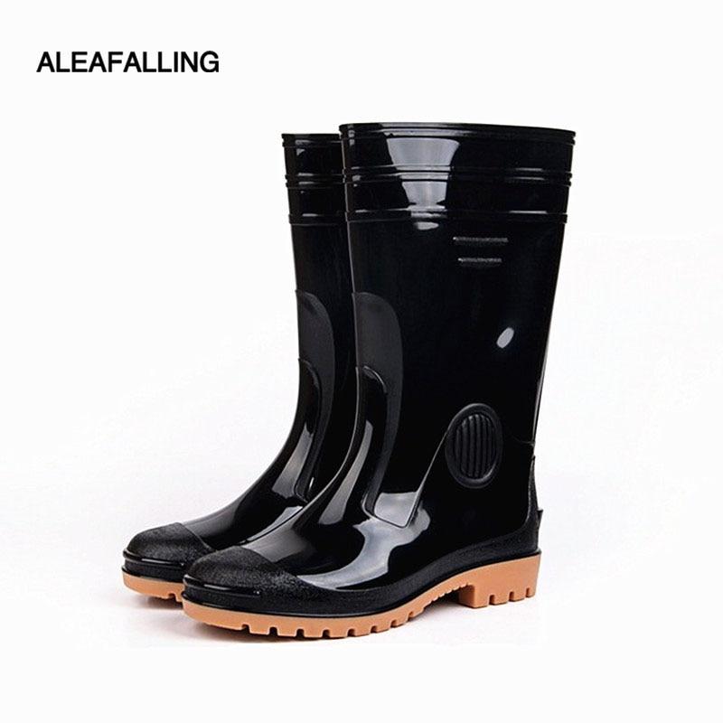 Aleafalling Pvc Wasserdichte Regen Stiefel Wasserdicht Workplae Schuhe Männer Regen Unisex Wasser Gummi Kniehohe Stiefel Slip Auf Botas M75