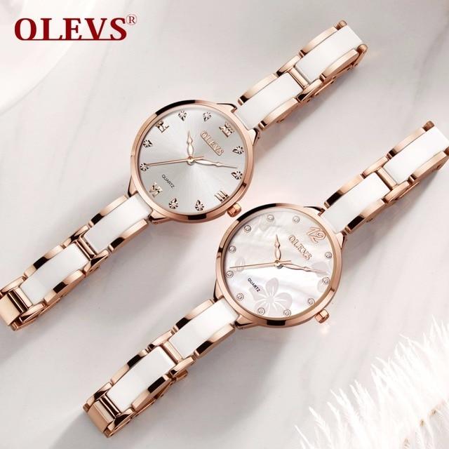 OLEVS Top Quanlity Brand Women Watches Rhinestone Ceramic Ladies Casual Dress Fashion female Quartz Watch relogio feminino clock