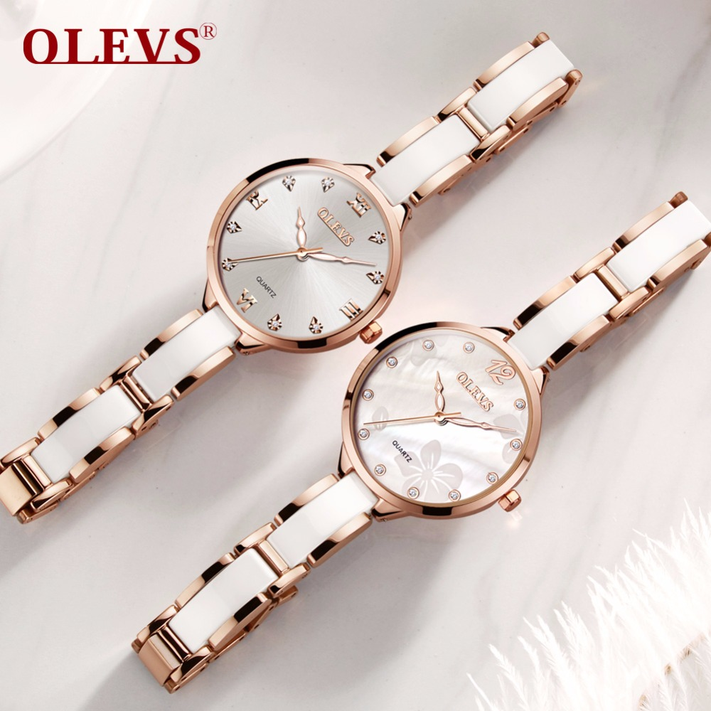 OLEVS Top Quanlity Brand Women Watches Rhinestone Ceramic Ladies Casual Dress Fashion female Quartz Watch relogio feminino clock
