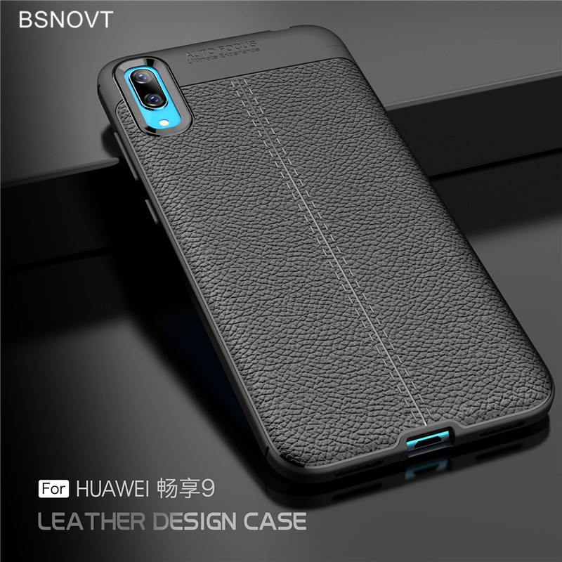 For Huawei Enjoy 9 Case Soft Silicone PU Leather Bumper Anti-knock Phone Cover BSNOVT