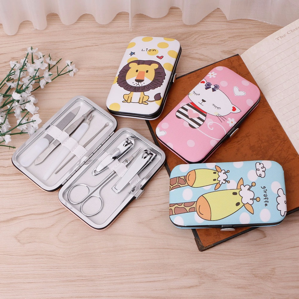 7 PCS Cute Pedicure Manicure Set Nail Clippers Cleaner Cuticle Grooming Kit Case 12 pcs mini pedicure manicure set nail cuticle clippers cleaner grooming case tool beauty care set stainless steel tool