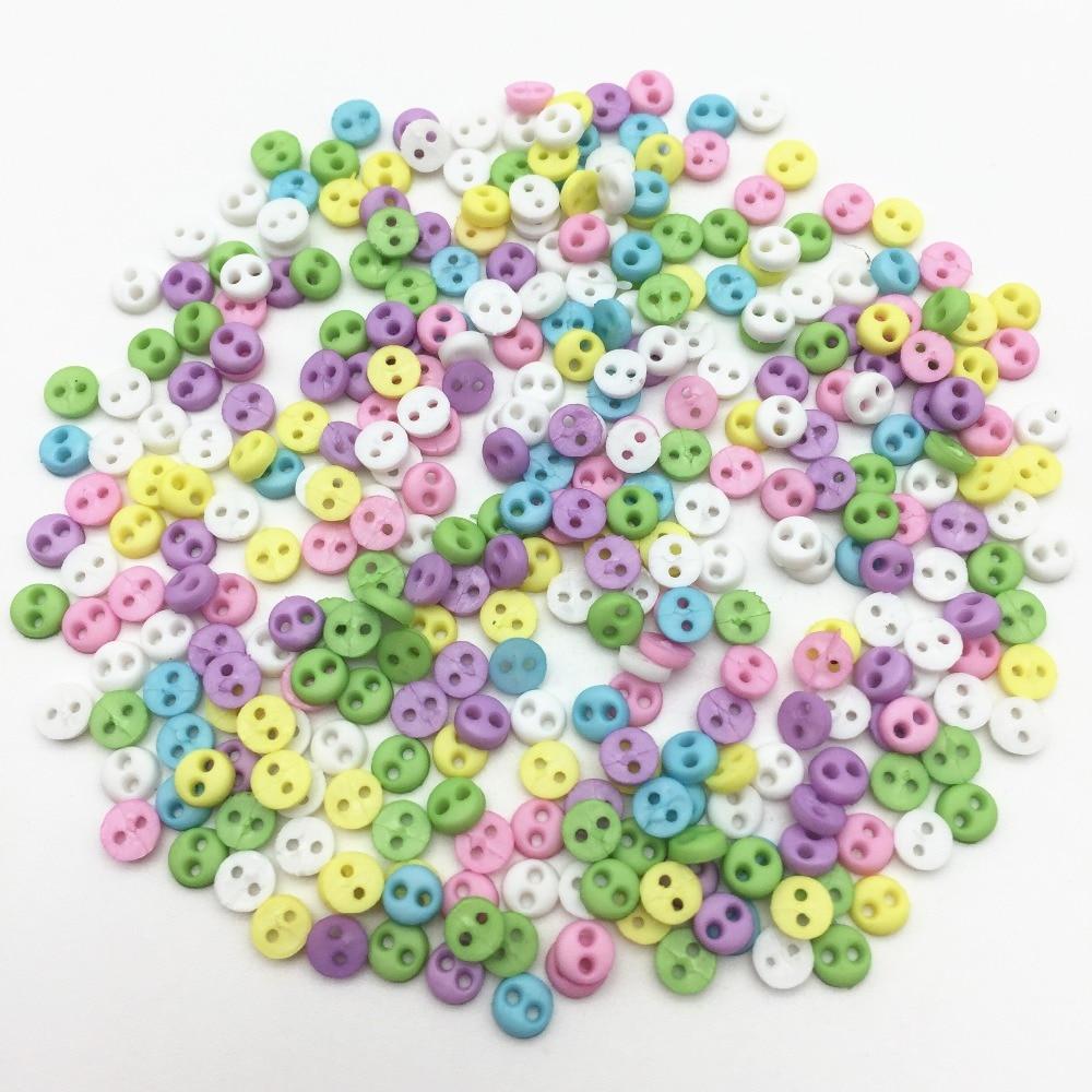 Tiny Baby Mini 6mm Botones Mixta Pastel Color Muñeca Artesanía Coser