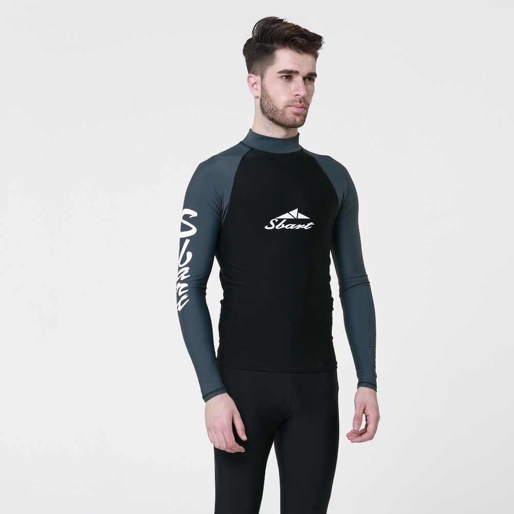 SBART גברים גלישת שומר פריחה בגד ים רטוב לגלוש שרוול ארוך חליפת צלילה לשחייה שנורקלינג קרם הגנה אנטי שחור מדוזות