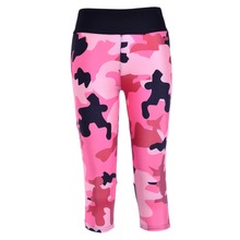 New 1091 Sexy Girl Women Army Camouflage Pink 3D Prints Workout Fitness stretchy elastic Cropped Trousers Leggings Pocket Pants
