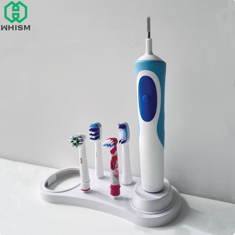 WHISM Plastic Electric Toothbrush Holder Tooth Brush Storage Organizer Teeth Brush Head Support White Stander with Charger Hole image