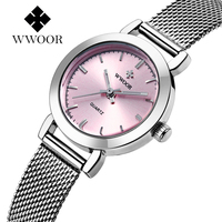 New WWOOR Luxury Women Watch Famous Brands Pink Dial Fashion Design Bracelet Watches Ladies Women Wristwatches