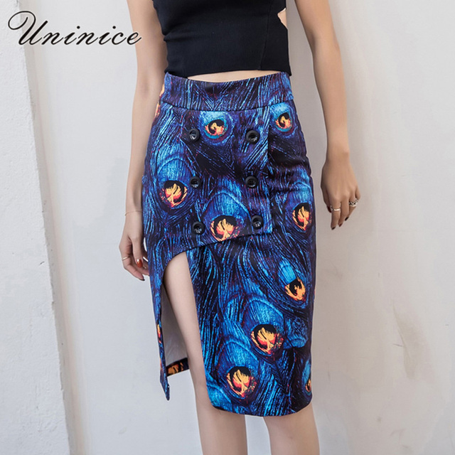 880979b1e6 UNINICE Peacock Printed Skirt Women s Clothing Slim Pencil Skirts Women  Lady Girls Split Button Blue Long Skirt Female Designer