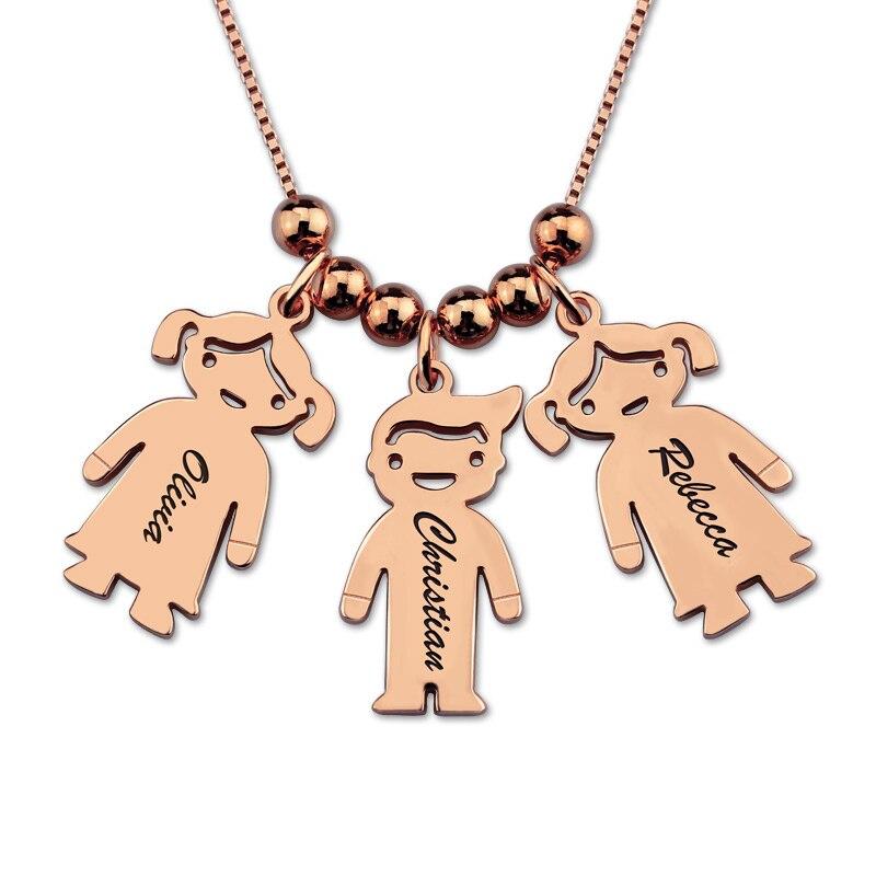 AILIN gravé nom enfants charmes mère collier couleur or Rose enfants charmes collier bijoux (prix 5 enfants)