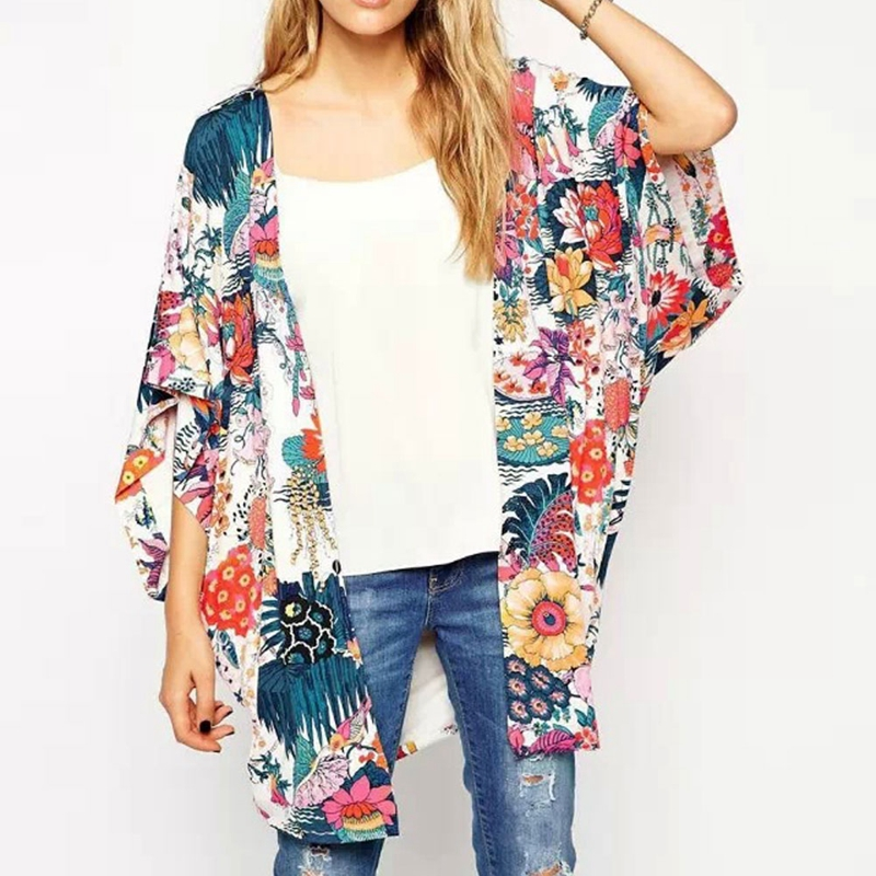 Women Arrival Floral Loose Shawl Kimono Cardigan Boho Chiffon Tops Beach Holiday Blouse(China)