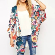 Vrouwen aankomst Bloemen Losse Sjaal Kimono Vest Boho Chiffon Tops Beach Holiday Blouse(China)