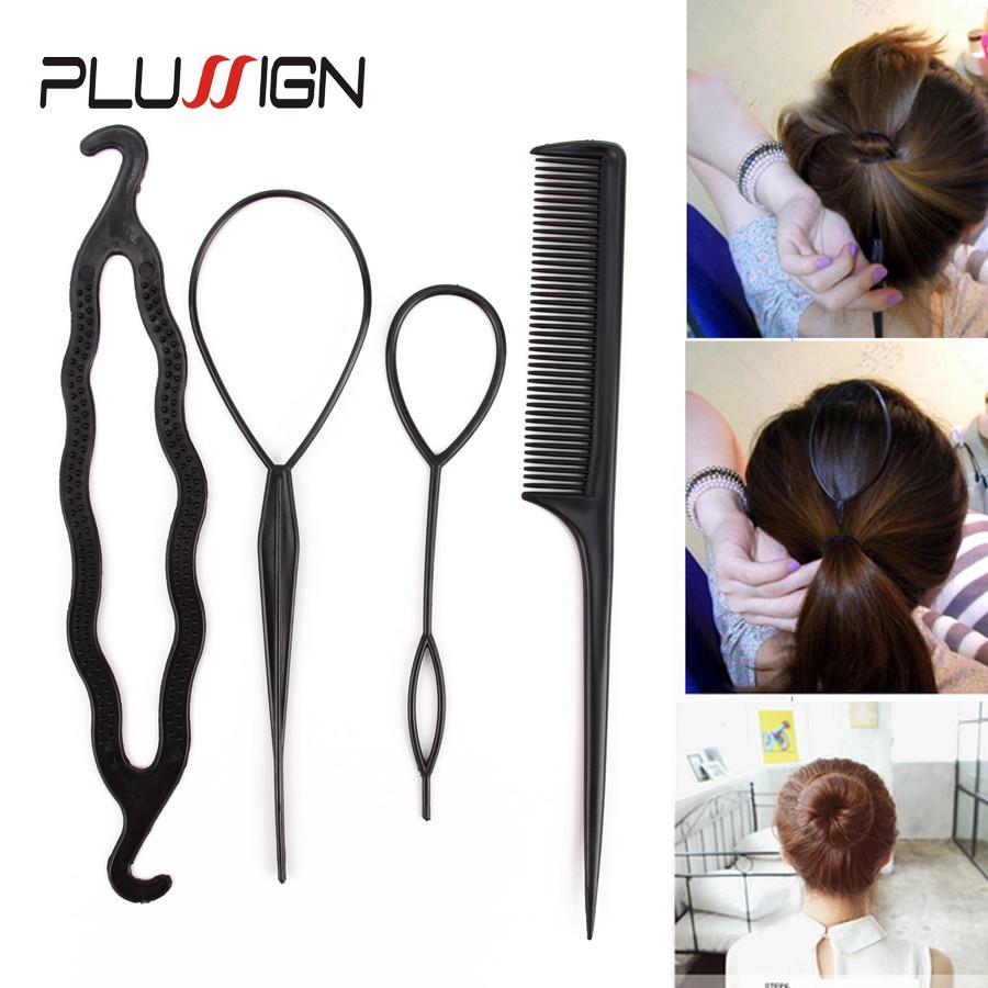 4Pcs Plastic Hair Loop Styling Hair Braiding Tools New Magic Topsy Tail Ponytail Hair Bun Maker Clip For Women Girls Hairstyles