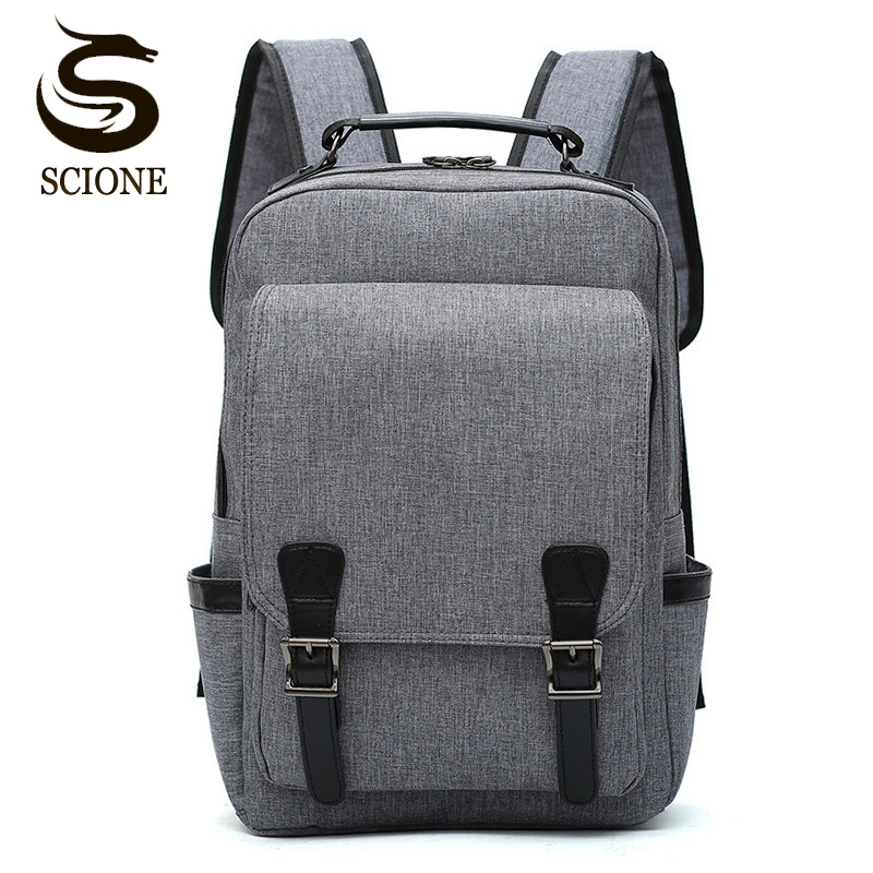 Scione Male Canvas Backpack Large Capacity Travel Bag Pack Laptop 15.6 inch Backpack Women School Shoulder Bag Rucksack mochila scione ethnic canvas backpack printing elephant butterfly drawstring casual rucksack travel shoulder bag mochila feminina xa739a