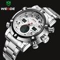 WEIDE Luxo Marca Top Dos Homens Relógios dos homens de Quartzo Analógico Digital LED Relógio Do Esporte Dos Homens Do Exército Militar Relógio de Pulso Relogio Masculino