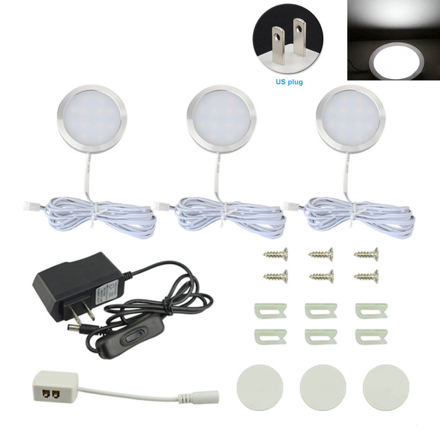 3 em 1 Levou Exibição Vitrine Armário Noite Sob Ultra-fino Rodada Com Chave de Liga de Alumínio Armário de Cozinha Mini painel de luz 12 V
