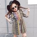 2017 новая весна девушка Платье Принцессы Девушки Корейских детская одежда с длинными рукавами платья