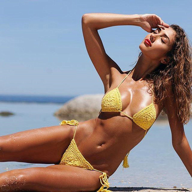 06e4a9173 RXRXCOCO New Sexy Micro Bikini 2019 Hot Knitting Brazilian Bikini Set  Bandage Swimwear Women Summer Swimsuit Biquinis Feminino