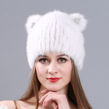 MIARA.L new 2018 high quality  lady mink hat fashion doll warm in winter thickened with fur cap manufacturers wholesale