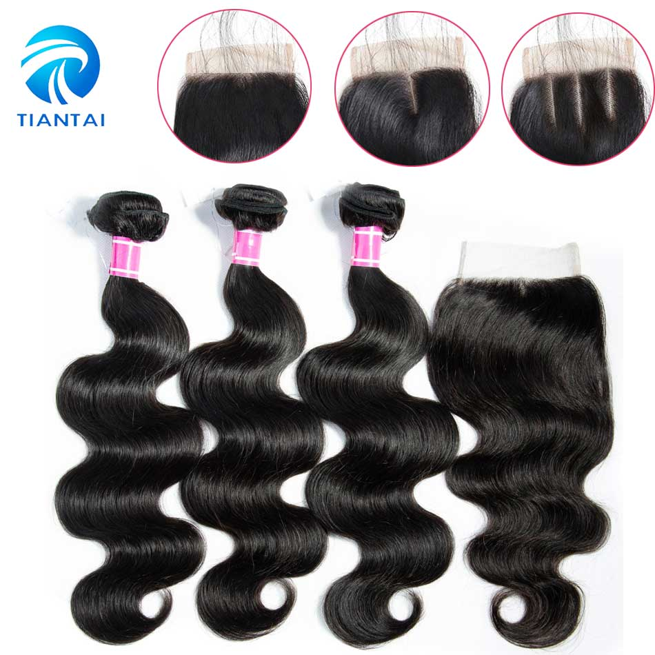 TIANTAI Brazilian Body Wave 3 Bundles With Closure 100 Human Hair Weaves With Lace Closure Remy
