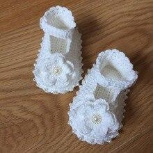 Tú eres mi princesa de lana tejido de punto hecho a mano, perla flores zapatos de bebé