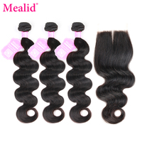 Mealid Brazilian Body Wave 3 Bundles With Closure Non Remy Human Hair Bundles With Closure