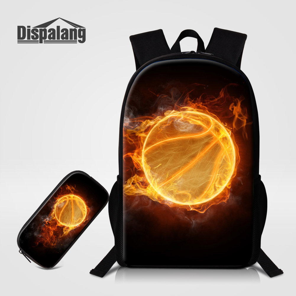 Dispalang 2 PCS/Set Basketballs Printing Schoolbags For Students Soccers Design Backpacks With Pencil Case Children Boys Mochila