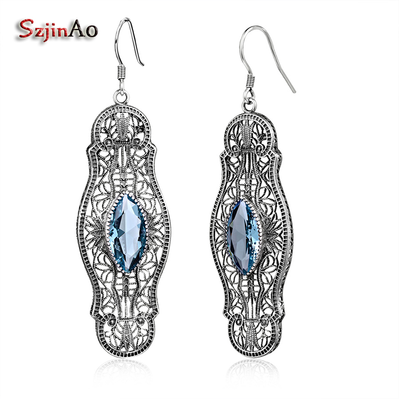 Szjinao Ethnic Style Indian Jewelry Solid 925 Sterling Silver Womens Fashion Drop Dangle Earrings Aquamarine Earrings
